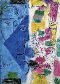 The Blue Face, 1967 - by Marc Chagall