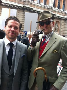 Two 'two dashing chaps' at the 'Seige of Savile Row' in London. Love the Heritage.....