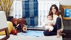 Jamie Lynn Sigler's baby boy nursery, featured on @Domaine, includes our Menagerie Bookends, Nautical Stripe Stroller Blanket and Crib Bedding. #serenaandlily