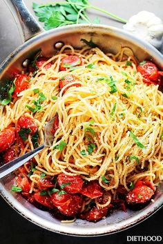 Garlic Parmesan Spaghetti with Blistered Tomatoes - blistered tomatoes tossed in roasted garlic oil, and a handful of parmesan cheese add ZING to this pasta dish:)