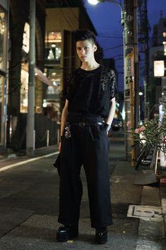Taiga wearing CHRISTIAN DADA, Shinya yamaguchi, Y's in Shibuya   Fashionsnap.com