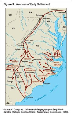 "(Image:  ""Avenues of Early Settlement"" Source:  C. Camp. ed., Influence of Geography upon Early North Carolina (Raleigh:  Carolina Charter Tercentenary Commission, 1963).  This article, entitled ""Early Settlement"" by David Goldfield, Professor of History at UNC, Charlotte, 2005, outlines in careful detail the development of the frontier in the North Carolina Colony during the period, 1657 through 1835."
