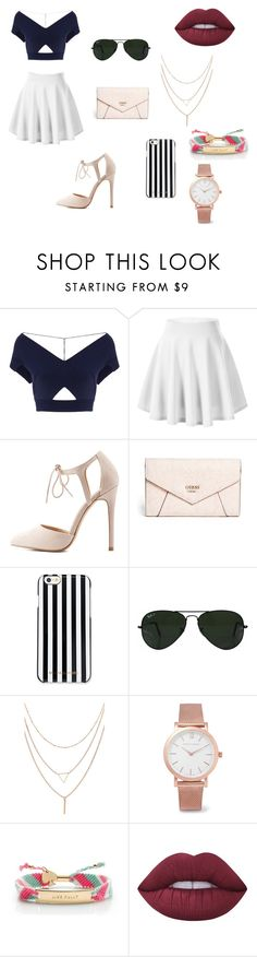 """""""❤️"""" by magalie-beauchemin ❤ liked on Polyvore featuring Roland Mouret, Charlotte Russe, GUESS, MICHAEL Michael Kors, Ray-Ban, Larsson & Jennings, Kate Spade and Lime Crime"""