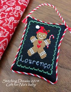 gingerbread boy cross stitched ornament