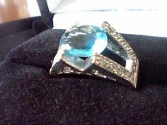 PLATINUM & SS LCS DIAMOND BLUE & WHITE WEDDING ENGAGEMENT RING SZ 7  #EXCEPTIONALBUY #WithDiamondsGemstones