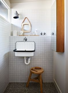 Lately we've been noticing the humble Alape bucket sink in washrooms everywhere (we first spotted it at Labour and Wait, in London). Here's a roundup of spaces, plus a source for the sink. Bathroom Interior, Bathroom Storage, Small Bathroom, Minimal Bathroom, Bathroom Sinks, Bathroom Vintage, Small Sink, Small Toilet, Tiny Bathrooms