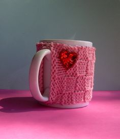 Knitted Mug Cozy  Pink Checkered with Red by KatysKnitKnacks, $6.00