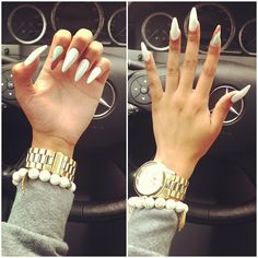 white long claw nails <3 -- Why do women like these?? They are so. Effing. Creepy.