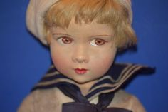 Old French Cloth Doll Raynal Wonderful Mariner Clothes Sailor Boy from oldeclectics on Ruby Lane