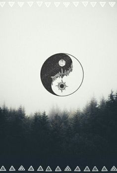 landscape, peace, phone, sky, ying yang, wallpapers,