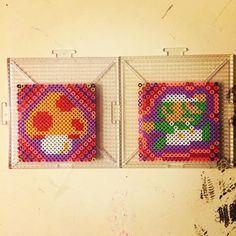 First set of coasters I've done. Still gotta do a 1up shroom and a Mario to make it a complete set. #nes #nintendo #mario #luigi #perler #perlerbeads #hama #hamabeads #pixel #pixelart #fusebeads #perlerart #craft #crafts #artsandcrafts #perlerbeadart
