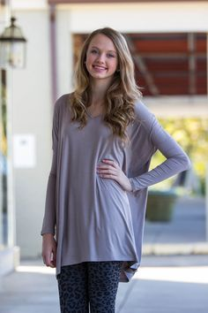 The Perfect Piko V-Neck Tunic Top-Lt Brown