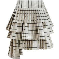ZIMMERMANN Maples Sportive Mini Skirt (2.900 RON) ❤ liked on Polyvore featuring skirts, mini skirts, bottoms, asymmetrical skirt, striped pleated skirt, striped short skirt, stripe skirt and short skirts