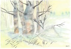 Winter in the birsch forest (based on Aud Rye) (acrylic on paper - 03/04/15)