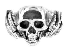 Swallows & Skull ring in sterling silver - $280