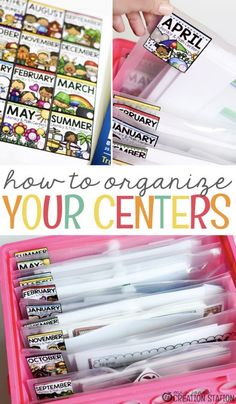 Classroom organization is importation in preschool, prek, kindergarten and first grade classrooms. Use this simple system for organizing literacy and math centers.