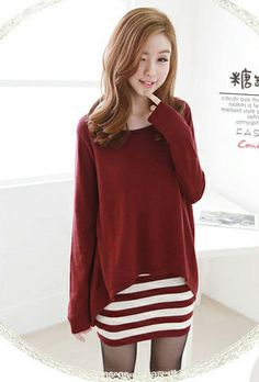 A layer of long tank top underneath a comfortable long sleeves pullover.