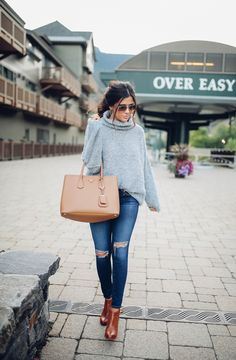 #winter #outfits / Grey Turtleneck Knit // Destroyed Skinny Jeans // Camel Leather Tote Bag // Camel Leather Booties