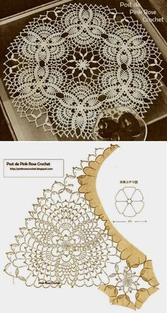 Discover thousands of images about Pineapples Doily Centrinho Abacaxis Crochet Doily Diagram, Crochet Motif Patterns, Crochet Designs, Crochet Dollies, Crochet Flowers, Crochet Lace, Crochet Patron, Irish Crochet, Fillet Crochet