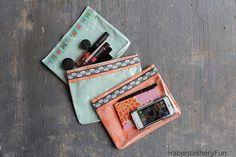 Tutorial: Clear front zippered travel pouches