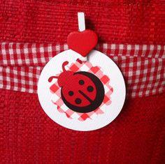 Ladybug gift tags. Red, Black & White. Hand punched. Birthday parties, favors, baby shower, gift tags, new baby, gender reveal, gifts. Baby girl, birthday girl.