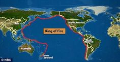 The Ring of Fire is an area where a large number of earthquakes and volcanic eruptions occur in the basin of the Pacific Ocean.