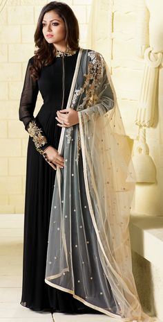 Drashti Dhami georgette black floor length Anarkali suit with resham zari stone and sleeves work and heavy dupatta with resham sequence pearl and lace work
