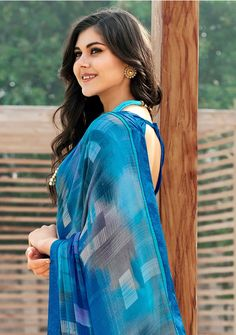Sky Blue Abstract print Saree With blue blouse for casual wear saree Blue Abstract, Abstract Print, Best Photo Poses, Indian Festivals, Fancy Sarees, Printed Sarees, Blue Blouse, Festival Outfits, Sarees Online