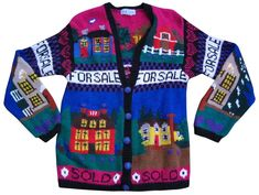 """Fabulous vintage """"ugly"""" real estate agent cardigan sweater in brilliant color. Cotton/ramie blend with v-neck and intarsia dollar signs on the buttons. Size XL Very good pre-owned condition. No stains or fading. Quirky Fashion, Fashion Graphic, Ugly Sweater, Sweater Cardigan, Vest Outfits, Fashion Outfits, Pretty Outfits, Cute Outfits, Kawaii Clothes"""
