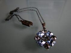Vintage Necklace Rhinestone Pendnat Something Blue by tintiara, $30.00