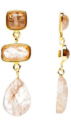 Blended Shapes Earrings, Rutilated Quartz by Marcia Moran
