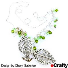 DIY Falling Leaves Necklace TUTORiAL: Cheryl is thinking forward to Fall with this large #leaf and #bicone #necklace from eCrafty.com.  For this necklace, Cheryl paired 2 large leaf charms pendants with our faceted #bicone #beads mix. ...