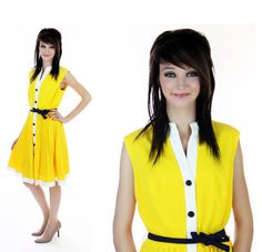60s MOD Dress Vintage 70s Bright Yellow by neonthreadsdesigns, $35.00