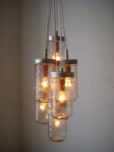 Dazzling Diamonds Mason Jar Chandelier   Upcycled Hanging Lighting Fixture  Featuring Pint Sized Quilted Jelly Jars   Rustic BootsNGus Design