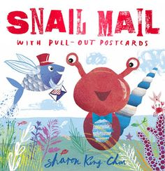 Children love to open the envelopes, look at what is inside and read them over and over.  SNAIL MAIL With Pull-Out Postcards (Hodder Children's Books, September 8, 2016 UK, Hachette's Children's Books, April 4, 2017 US) written and illustrated by Sharon King-Chai is a charming, colorful ode to waiting for the delivery of news from a missed companion.