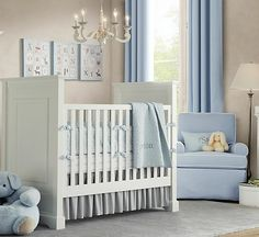 White blue baby boys room