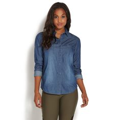 af4e5fe364830 DENIM SHIRT - ShoeDazzle Denim Button Down