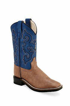 Smoky Mountain Kids Boy Monterey Western Cowboy Boots Stitch Leather Brown//Blue