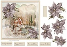 Winter fun on ice 7x7 card with decoupage and sentiment tags