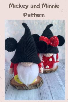 Crochet Minnie and Mickey gnomes 🥰😍 #crochet #disney #crochetprojects Mickey Party, Minnie Mouse Party, Crochet Doll Pattern, Crochet Patterns Amigurumi, Knitting Projects, Crochet Projects, Mickey Mouse Costume, Crochet Disney, Mickey Mouse Christmas