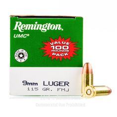 Remington 9mm Ammo - 100 Rounds of 115 Grain MC Ammunition #Remington #RemingtonAmmo #9mmAmmo #9mm