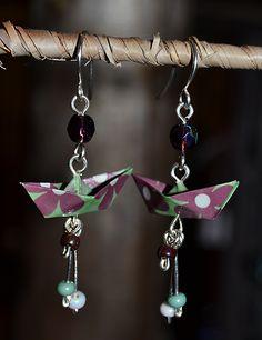 Boucles Doreilles En Origami Bateaux Violets Et Verts