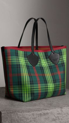 The Giant Reversible Tote in Tartan and Leather in Tan pine Green  a09f47967543a