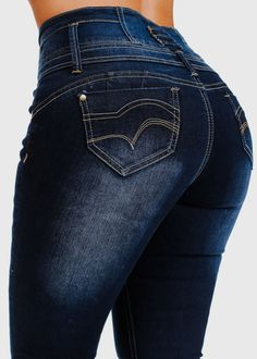High Waist Butt Lift Skinny Jeans with Back Pockets in Dark Denim