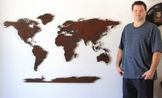 """World Map Metal wall art - 60"""" wide X 36"""" tall - 5 separate pieces - Rust patina"""
