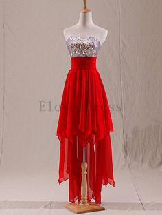 red hi lo long short high low chiffon cocktail by ELOVESDRESS, $109.00