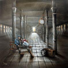 Moonlighting by Yorkshire artist Bob Barker - original oil on canvas.