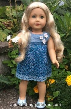 Ravelry: American Girl Doll Summer Stream Dress pattern by Elaine Phillips Crochet Doll Dress, Crochet Doll Clothes, Crochet Doll Pattern, Girl Doll Clothes, Girl Dolls, Crochet Dresses, Ag Dolls, Barbie Clothes, Knitted Dolls