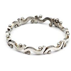 Mexican Sterling Bracelet, Curve Link and Balls, 925 Silver Link... ($65) via Polyvore featuring jewelry, bracelets, silver hinged bracelet, vintage bangles, silver bangle bracelet, ball bracelet and heart bangle bracelet