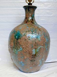 Vintage Mid Century Modern Lava Drip Glazed Turquoise Blue Pottery Ceramic Lamp